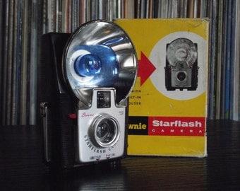 1950's Black Kodak Brownie Starflash with Original Box, Bulb