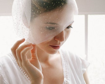 Wedding blusher, gold veil, birdcage veil, tulle   - style 321