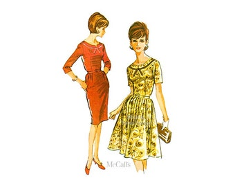 Vintage 60s Dress Pattern McCalls 6946, Bust 40, Straight or Full Skirt, Scoop Neck Rockabilly Dress Vintage Sewing Patterns