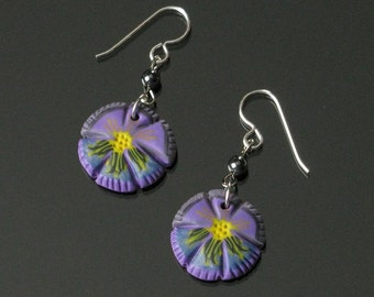 Purple Pansy Silver Earrings - Whimsical Flower Dangle Earrings - Lightweight Earrings - Gift for Women - Unique Jewelry Gift for Her
