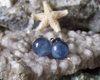 8mm Blue Kyanite Titanium Studs Earrings Earings Hypo Allergenic Made in Newfoundland Throat Chakra