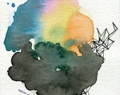 abstract colorful watercolor and ink original by agnes villeda - agnes in wonderland