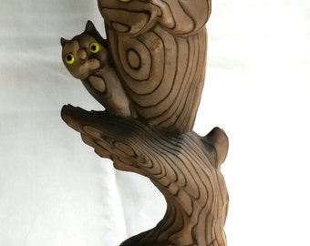 OWL MAMA & BABY Wony Ltd. Japan, hand carved, vintage 1970's, home decor, kitschy owls, dark brown wood, signed, marked, Japanese, kids art