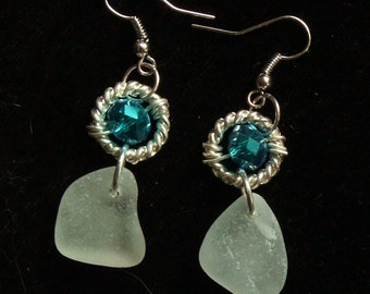 Aqua Sea Glass Earrings with Glittery Turquoise Crystals
