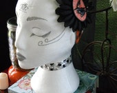 Orange and Black Plaid Headback with Black Flower and Witch Silhouette