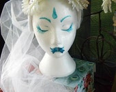 Flower Crown Hairband with Long Tulle Veil
