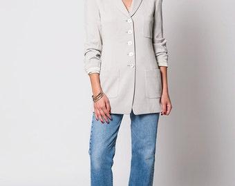 The Vintage Donna Karen NY Beige Utility Style Blazer Jacket