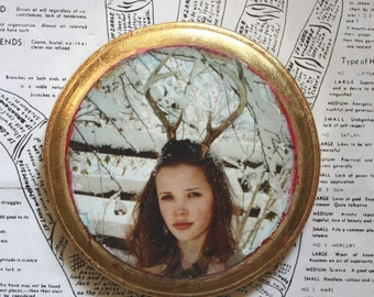 Original Art, Mixed Media, Miniature, Fawn, Antlers, Headdress, Snow Covered, Branches, Round, Gold