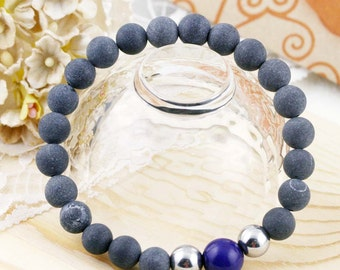 Overall well-being unisex bracelet - magnetic hematite, lapis and stone needle