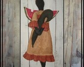 Watermelon Angel primitive black folk art doll watermelon slice wings OFG HAFAIR faap handmade crow