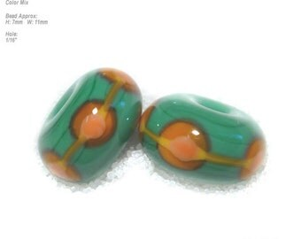 PAIRS 108 Lampwork Bead Pair Handmade Green Orange Gold -  Matched beads  - Set of 2
