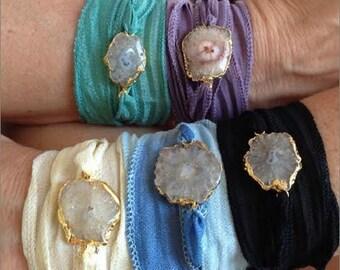 Druzy Wrap Bracelet, Solar Druzy Wrap Bracelet, Stalactite, Agate, Silk Ribbon Wrap Bracelet, Boho Wrap Bracelet, YOUR CHOICE