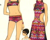Vintage 60s Vogue 7073 Misses Cut Out Monokini Beach Dress, Coverup and Two Piece SwimSuit Sewing Pattern Sizes 10 Bust 31