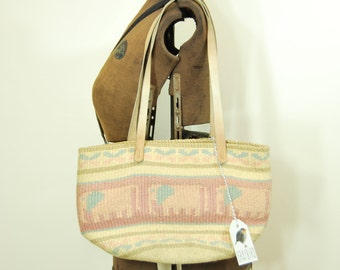 Vintage Woven Market Bag • Pastel Pink and Blue Elephants • Leather Straps • Jute/Straw