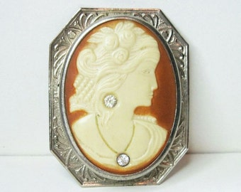 Vintage 1920s Art Deco Cameo Brooch - Celluloid - Art Deco Jewelry - Antique - Habille - Silver Tone - Rhinestones