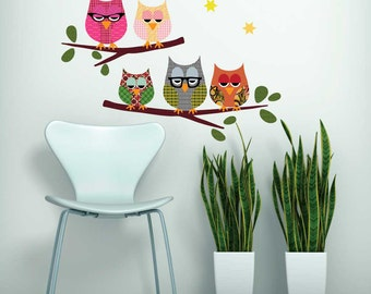 Owls on Branch Repositionable Wall Decal