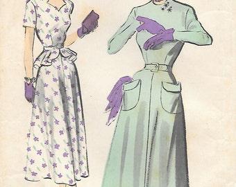 Advance 5242 - 1940s Flared Peplum Dress Unprinted Sewing Pattern Bust 32 Patch Pockets