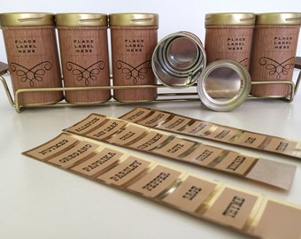 Vintage Decoware Spice Rack Set with Six (6) Canisters and Labels / Stickers - Faux Bois Jars - Metal Holder w/ Teak Handles - Danish Modern