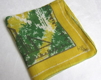 Vintage 1960s Handkerchief by Kati in Bright Gold Cotton with Green, White, and Grey Abstract Pattern, Fun Vintage Kati Hankie