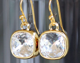Sparkly Clear Square Swarovski Crystals Set in Gold on Gold French Earrings, Square Crystal and Gold Dangle Earrings