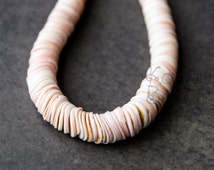 Pink Lahuanas shell 9-10mm Heishi disc, potato chip, saucer beads 10377