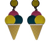 Triple Ice Cream Cone Earrings - Pink Yellow Teal