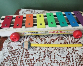 Fisher Price Xylophone Wood Pull Toy with Original Mallet 1964