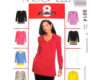 Easy Pullover Top Pattern McCalls 8914 Casual Top Collar Pockets Long Sleeve Tunic Womens Sewing Pattern Size 4 to 14 UNCUT