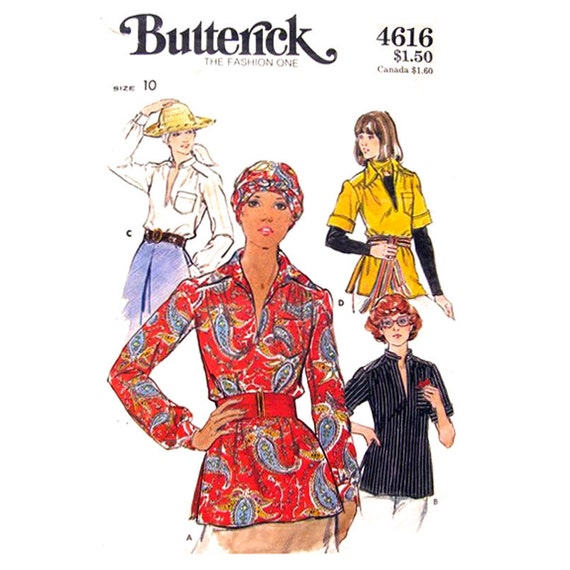 1970s Pullover Blouse Pattern Butterick 4616 Tunic Top Neck Slit Womens Size 10