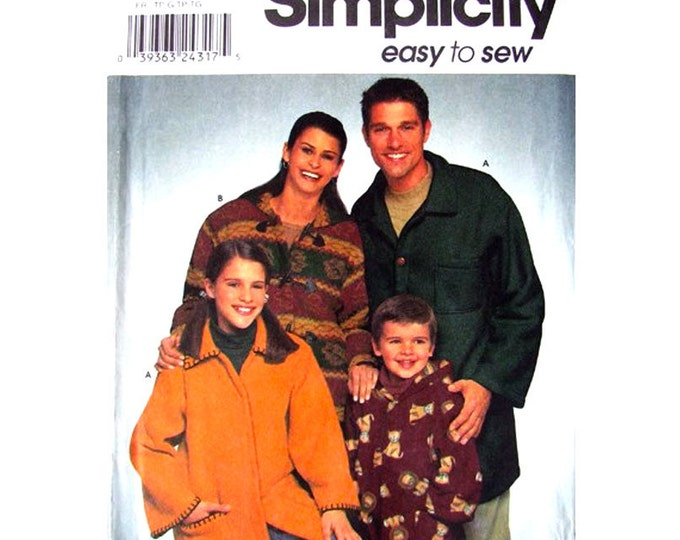 Unisex Jacket Pattern Simplicity 9415 Hood Collar Buttons Coat Teen Adult Size XS S M L XL