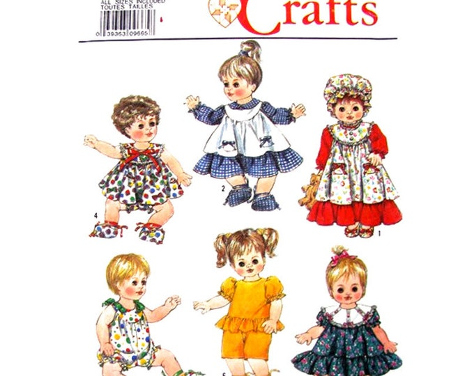 Baby Doll Clothes Pattern Simplicity 9434 Dress Panties Sundress Romper Top Pants 14 to 18 Inch