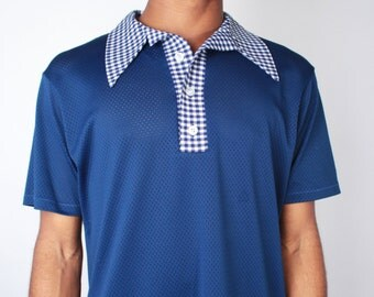 Vintage 70s Navy and White Plaid Perforated Sheer Mesh Polo Shirt by Medalist Sand Knit // Mens Vintage Shirt (sz M/L)