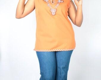 Vintage 70's Burnt Orange Boho ETHNIC EMBROIDERED Sleeveless Tunic Tank Top // Vintage PLUS Size Blouse (sz L)