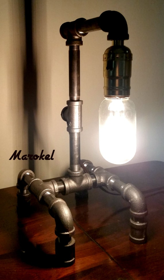 industrial lamp black nickle iron pipe vintage style bulb 40 watt. Black Bedroom Furniture Sets. Home Design Ideas