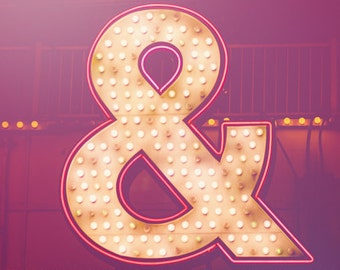 Neon Ampersand - Glittering Pink and White Typography Symbol - Fine Art Photo Print