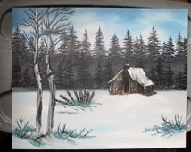 Bob Ross Style Alaska Wilderness Forest Evergreen Trees Cabin in the Woods Snowy Winter Oil Painting, 16 x 20 Oil on Canvas Board