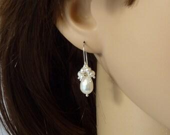 Sterling silver White pearl cluster earrings, Pearl wedding jewelry, White pearl earrings, Swarovski pearl earrings