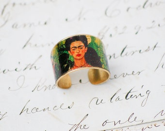 Frida Kahlo Ring Brass Adjustable Art Ring Bohemian Mexican Artist