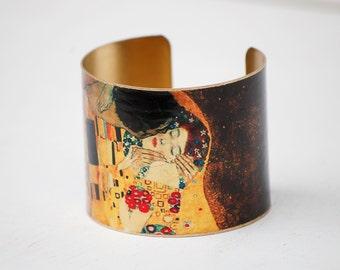 The Kiss Bracelet, Art Cuff Bracelet, Gift for Her, Lovers Jewelry, Bohemian Brass Cuff, Gustav Klimt, Boho Art Jewelry, Gustav Klimt Kiss