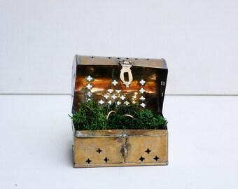 Ring Bearer Box Brass Cricket Box Hinged Pierced Metal Box Treasure Chest