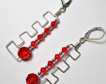 Trendy Zig Zag Swarovski Crystal Earrings-Reduced