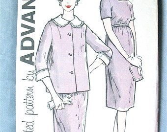 Uncut ff Early 60s or late 50s Advance 9726 Dress Pattern Vintage Jacket and Dress Sewing Pattern  Bust 33 inches