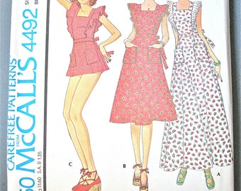 Uncut 70s McCall's 4492 Misses' Dress Vintage Sewing Pattern Princess Dress, eyelet ruffle, back zipper, patch pockets  Bust 32.5 inches