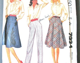 McCall's 7234 Misses' Skirt and Pants By Palmer & Pletsch ©1980 Vintage Sewing Pattern  Waist 24