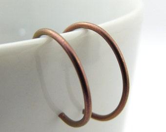 Tiny Pink Niobium Hoop Earrings, Rose Pink Backward Hoop Earrings