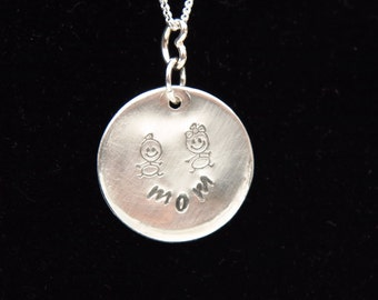 Mother Necklace Stamped Handmade Mothers Day Gift  Mother Child Jewelry Sterling Silver Mom Necklace