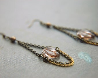Chandelier Earrings Boho Chic Glass Beaded  - Crystal Leaves.