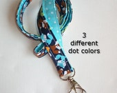 Foxes Lanyard ID Holder with lobster claw clasp - Little foxes with white pin dots on aqua , yellowish orange, or green two 2 toned