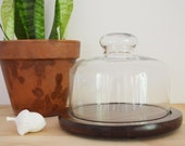Vintage Glass + Timber Cloche | Cheese Server
