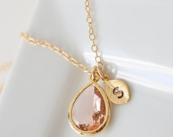 Bridesmaid Necklace Peach Champagne Teardrop Gold Necklace with Initial
